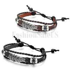 Mens Womens Handcrafted Adjustable Feather Style Multilayer Leather Bracelet #Unbranded #Bracelet