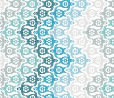 """This is the same design as my """"Turtles on the Beach"""" (http://www.spoonflower.com/fabric/604775), but with a white background instead of grey.  It is also in a somewhat smaller scale.  If you would like this fabric in a different scale, please contact me."""