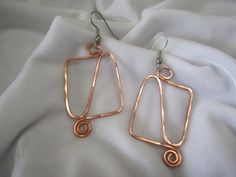 SALE 20% off, use coupon code: PIN10 EXTRA 10% off! Handcrafted Copper rectangle double swirl earrings.  WIRE: Wire you're interested in not listed, just let me know. If you'd like bronze or gold wire I would be happy to g... #jewelry #earrings #metal
