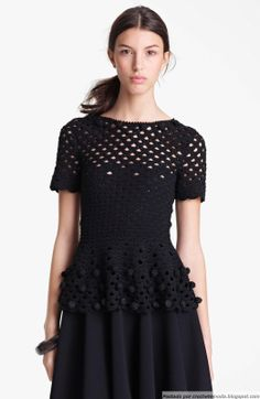 inspiration - Crochet Blouse Black from Crochetemoda - I adore this top! Look at the added crochet beads to the neckline and peplum, and all the tiny beads in the yoke and sleeves.