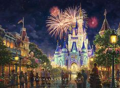 "The Thomas Kinkade Studios is proud to announce our newest Disney Parks release–""Main Street, U.S.A.® Walt Disney World® Resort"". For the Kinkade family, the yearly pilgrimage to Walt Disney World® was always an enchanting inspiration. Thom once said, ""Two of the dream-memories we take from childhood on our life's journey are the wonder and excitement of Walt Disney World® and the soaring majesty of castles."" Please join us in celebrating the magic! #thomaskinkade #disney #disneyworld…"