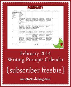 FREE February Writing Prompts Calendar
