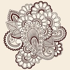 Mehndi paisley doodle that would look neat embroidered.