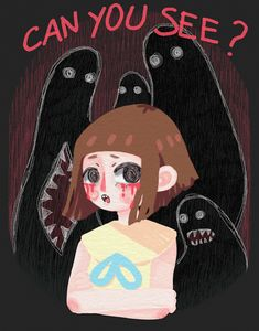-Can you see? Arte Horror, Horror Art, Miss Fortune, Bow Games, Little Misfortune, Bow Art, Rpg Horror Games, Gaming, Indie Games