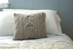 Cable Knit Pillow Sham in Wool, Sweater Pillow, Throw Pillow, Knit Pillow, Knit Home Decor. $79.00, via Etsy.