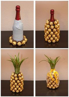 Wrap a bottle of wine and create a ferrero rocher pineapple Mitbringsel: Rocher-Sekt-Ananas Mitbringsel: Rocher-Sekt-Ananas I think you could do this with a coke bottle. Mitbringsel: Rocher-Sekt-Ananas is creative inspiration for us. Get more photo about Pineapple Gifts, Wine Pineapple, Pineapple Craft, Pineapple Centerpiece, Diy Cadeau, Navidad Diy, Ideas Navidad, Craft Gifts, Food Gifts