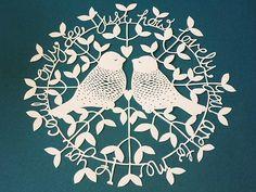 Love Birds Papercut Design Template - Do It Yourself £6.50