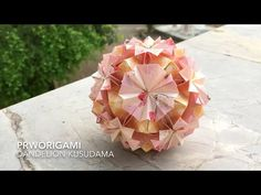 Use 30 + 30 rectangle sheets of origami paper. Difficulty : ⭐⭐⭐ Time: 3 hours It is spongy ball like a dandelion flower. Dandelion Flower, Origami Paper, Paper Size, Paper Crafts, Candles, Make It Yourself, Wall Art, Youtube, Pink