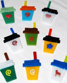 To Go Coffee Cup Magnets in Fused Glass, Colorful and Useful, by Omega Glass $16.00. Free shipping to U.S.