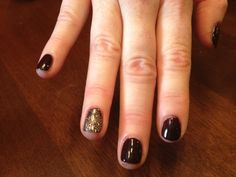 These are just a dark shade on your nails with one sparkle nail to give it an edge.