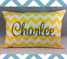 16 Chic Chevron Nursery Ideas from DisneyBaby.com and available on Etsy! Custom Name Pillow with Chevron Print