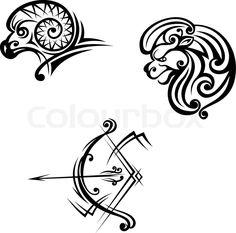 Leo aries and sagittarius symbols | Vector | Colourbox