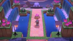 Since I get some DM's of people asking me to show more of my island, here is my new entrance area. I think I'll add some more flowers but I… Animal Crossing 3ds, Animal Crossing Town Tune, Animal Crossing Wild World, Post Animal, My Animal, Raised Garden Bed Plans, Entrance Design, Entrance Ideas, Tropical Animals