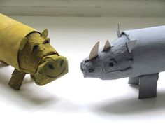 A Patchwork Life: A Rhino and a Hippo roll up to the Zoo, craft, childeren, elementary school, toiletpaper roll, rhinoceros, knutselen, kinderen, basisschool, toiletpapier rol, wc-rol, neushoorn