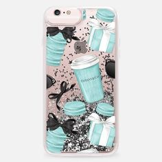 Casetify iPhone 6s Plus Liquid Glitter Case - Tiffany Blue Fashion Illustration Transparent Breakfast at Tiffany's Girly Mint Black Classy Glamour Watercolor Coffee by Frou Frou Craft