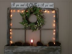 old window decorated for Christmas