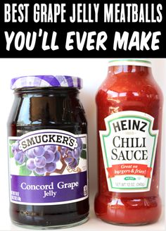 Grape Jelly Meatballs Crockpot Chili Sauce Recipe! These EASY meatballs are such a cinch to make, and are perfect for party appetizers, game days, or any easy weeknight dinner! Go grab the recipe and give them a try this week! Jelly Meatballs Crockpot, Grape Jelly Meatballs, Hot Appetizers, Appetizer Recipes, Sandwich Recipes, Dinner Recipes, Grape Recipes, Summer Recipes, Holiday Recipes