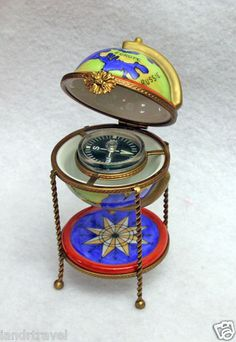 NEW HAND PAINTED AUTHENTIC FRENCH LIMOGES BOX OLD-WORLD GLOBE WITH COMPASS