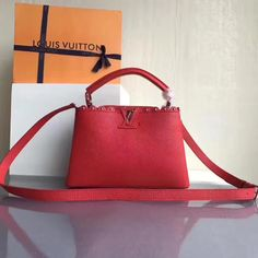 Louis Vuitton Taurillon Leather Capucines BB With Lace & Studs Edge Red 2017 ] : Real Bag Sale Louis Vuitton Red Purse, Louis Vuitton 2017, Vuitton Bag, Louis Vuitton Handbags, Designer Bags For Less, Red Bags, Bag Sale, Calf Leather, Calves