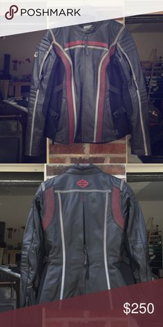 Harley Motorcycle women's Leather Jacket Harley Motorcycle women's Leather Jacket. Never been worn. Black leather jacket with red accent stitching. Brand new. Sold our bike. Harley-Davidson Jackets & Coats
