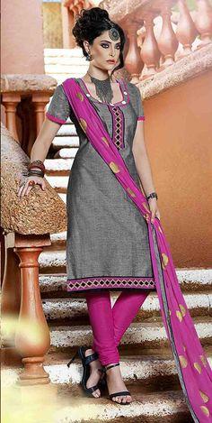 USD 27.55 Gray Cotton Churidar Suit 47560