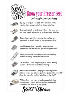 Sewing Machine Presser Feet - a handy printable guide! — SewCanShe | Free Sewing Patterns for Beginners