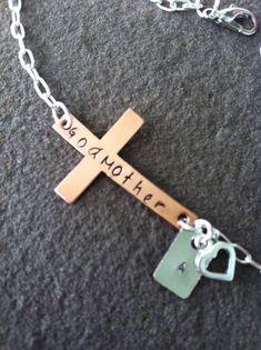 Sideways cross bracelet personalized godmother charm copper  communion baptism confirmation gift on Etsy, $24.00