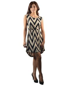 Hi Low Chevron Striped Zig Zag Blouson Sleeveless Dress Elastic Waistline S M L