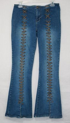 Mudd Lace Up Bellbottom Flare Stretch Jeans Size 11 32 x 30 Hippie Teen Juniors Fashion