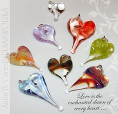 Glass Hearts ... ❤ making these! Glass works by Anita B. Carroll