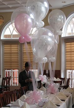 Cross Balloons in Balloons Centerpiece for Communion or Christening