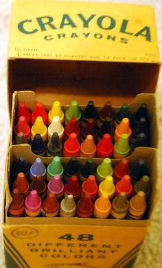 Crayola crayons-a new box of crayons was a magical thing-and a BIG box like this was such a splurge.