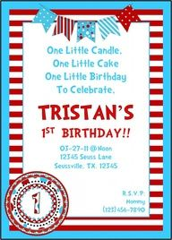 One Little Candle, One Little Cake - Seuss invite option