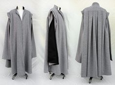 Inspired by Professor Quirrell's costume, this custom robe is crafted from charcoal and pale gray wool herringbone and is fully lined with black cotton twill. It features long open hanging sleeves and a box pleated back. Center front closes via hidden coat hook and eyes. $465 + shipping