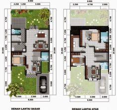 Desain Rumah Minimalis 5 X 12 Meter - Arcadia Desain Model House Plan, Dream House Plans, Small House Plans, House Floor Plans, Sweet Home Design, Home Design Plans, Minimalist House Design, Minimalist Home, Type 45