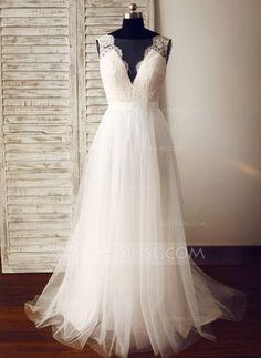[Kr 1545] A-linjeformat V-ringning Sweep släp Tyll Bröllopsklänning (002104625)