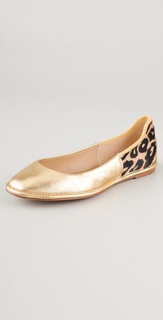 Diane von Furstenberg  Botswana Haircalf Flats. These are also leopard and gold.