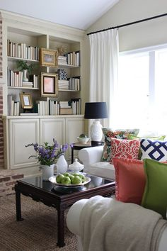 Summer Home Tour - Neutral with pop of color - Ikea Ektorp Sectional - World Market Jute rug - bookcase styling - Simple Details