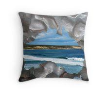 Sea Views In A Metallic Aussie Map Throw Pillow