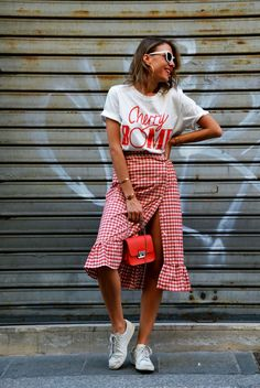 gingham skirt, red bag, zara