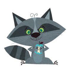 raccoon illustration by Johny Yanok Cute Animal Illustration, Book Illustration, Character Illustration, Animal Illustrations, Paper Collage Art, Woodland Critters, Animal Graphic, Art Sketchbook, Nursery Art