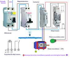 Esquemas eléctricos: Arranque de motor monofásico y parada con interrup...