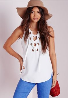 Eyelet Lace Up Cami Top White - Eyelet - Tops - Missguided