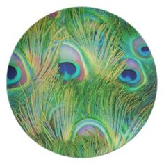 Peacock Feathers Party Plates