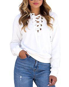 Womens Lace Up Front Long Sleeve White Sweatshirt Pullove... https://www.amazon.com/dp/B01N2I9EQV/ref=cm_sw_r_pi_dp_x_MnMrybQY6Y166