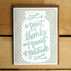 Thank you for being here and sharing in the joy and optimism and realness of it all. Yes. :: Pint of Thanks Letterpress Card by 1canoe2