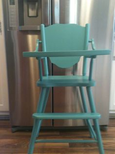 Vintage aqua turquoise painted wood highchair baby by DressyIsles, $75.00
