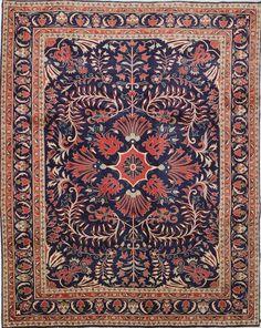 Persian Sarouk Farahan rug Persian Motifs, Persian Rug, Magic Carpet, Carpet Design, Blue Art, Persian Carpet, Rug Hooking, Kilim Rugs, Rugs On Carpet