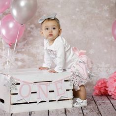 Light Pink and Silver Glitter Snowflake Birthday Outfit w/ 1st Birthday Outfit Girl, 1st Birthday Photoshoot, Baby Girl Birthday, Winter Onederland Party Girl 1st Birthdays, Winter Wonderland Birthday, Birthday Girl Pictures, First Birthday Photos, Birthday Ideas, Birthday Photography