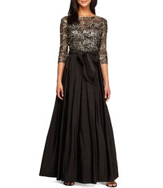 Alex Evenings 3/4 Sleeve Embroidered Sequin A-Line Ballgown